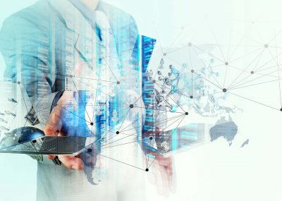 Double,Exposure,Of,Businessman,Shows,Modern,Technology,As,Concept